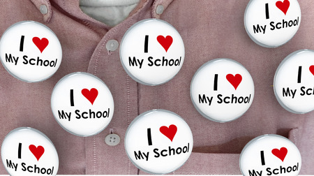I Love My School Buttons Pins Shirt Education Teacher Student 3d Illustration