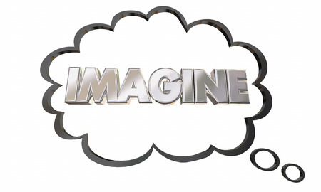 conceive: Imagine Create Innovate Imagination Thought Cloud Bubble 3d Illustration