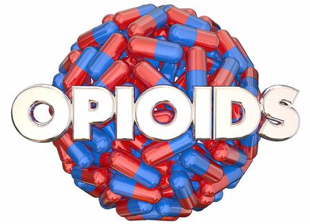 osoba: Opiáty Předpis drogovou závislost Nebezpečné pilulky Tobolky 3d ilustrační Reklamní fotografie