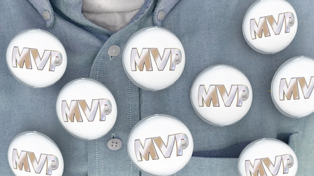 mvp: MVP Most Valuable Player Person Buttons Pins Shirt 3d Illustration Stock Photo