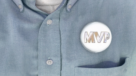MVP Most Valuable Player Person Button Pin Shirt 3d Illustration
