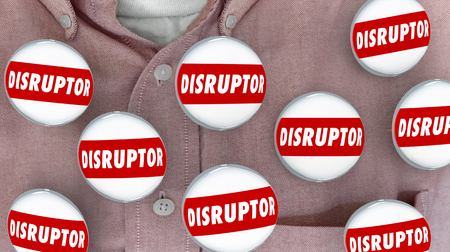 upheaval: Disruptor Buttons Pins Change Agent Innovator 3d Illustration