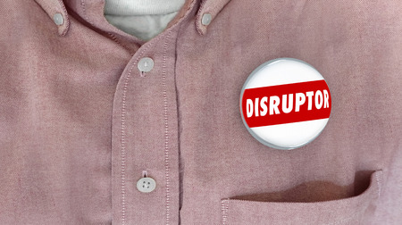 disruptive: Disruptor Button Pin Change Agent Innovator 3d Illustration
