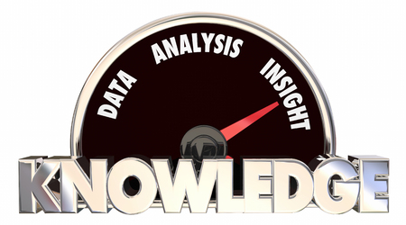 insight: Knowledge Data Analysis Insight Speedometer Words 3d Illustration