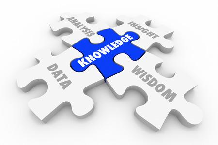educativo: El conocimiento de rompecabezas de análisis de datos Insight sabiduría Ilustración 3d Foto de archivo