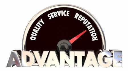 measuring: Advantage Quality Service Reputation Speedometer 3d Illustration Stock Photo