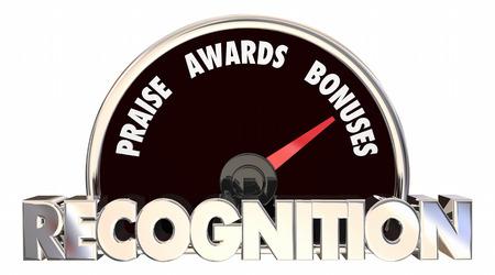 appreciating: Recognition Praise Awards Bonuses Speedometer 3d Illustration