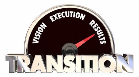 executing: Transition Vision Strategy Execution Speedometer Plan 3d Illustration