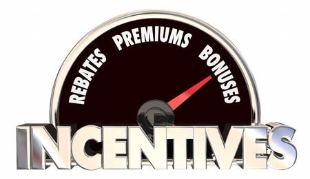 premiums: Incentives Rebates Premiums Bonus Offers Speedometer 3d Illustration