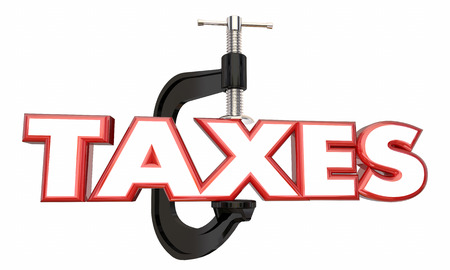 earnings: Taxes Squeeze Income Reduce Earnings Money Clamp Vice 3d Illustration Stock Photo