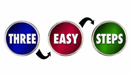Drie 3 eenvoudige stappencirkels Procesaanwijzingen 3d illustratie