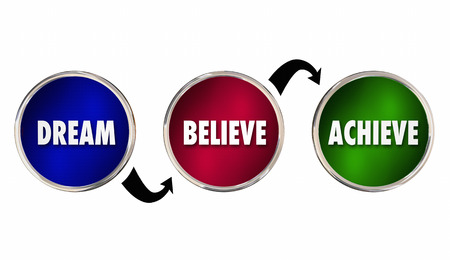 achieve: Dream Believe Achieve Circles Steps Plan Success 3d Illustration