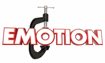 tightening: Emotion Suppress Hold Down Inside Clamp Vice Word 3d Illustration
