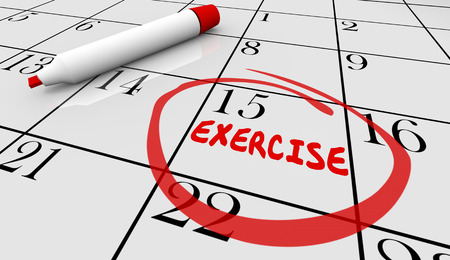 reminder: Exercise Fitness Schedule Workout Class Day Calendar 3d Illustration Stock Photo