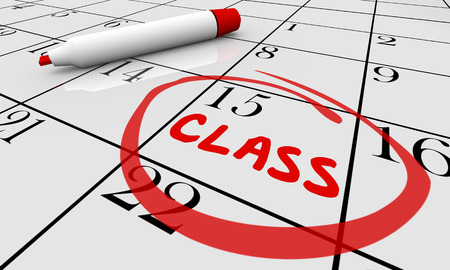 classes schedule: Class Course Training School Date Day Calendar 3d Illustration