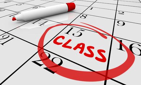 cronogramas: Fecha Día Escuela de Formación Calendario de los Cursos de clase 3d ilustración