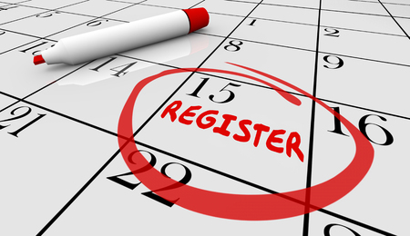 attending: Register Day Date Circled Calendar Registration Deadline 3d Illustration Stock Photo