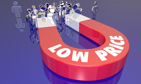 Low Prices Sale Attracting Customers Magnet Words 3d Illustration