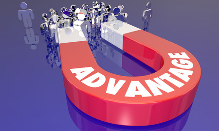 competitive: Advantage Competitive Edge Magnet Attracting More Customers 3d Illustration Stock Photo
