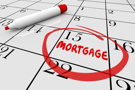 due date: Mortgage House Payment Loan Bill Due Date Calendar 3d Illustration