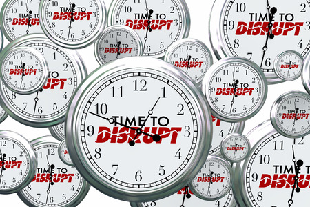 disrupting: Time to Disrupt Change Reinvent Clocks Flying 3d Illustration Stock Photo
