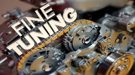 car tuning: Fine Tuning Engine Performance Engineering Words 3d Illustration Stock Photo
