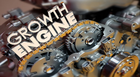Growth Engine Increase More Results Improve Words 3d Illustration Stock Photo
