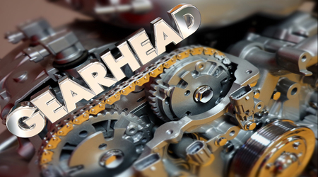 Gearhead Wort Motor Tech Fan Customizer Leistung 3d Illustration Standard-Bild