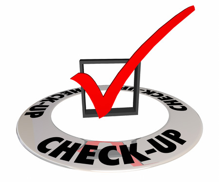 inspected: Check-Up Physical Evaluation Test Exam Mark Box 3d Illustration
