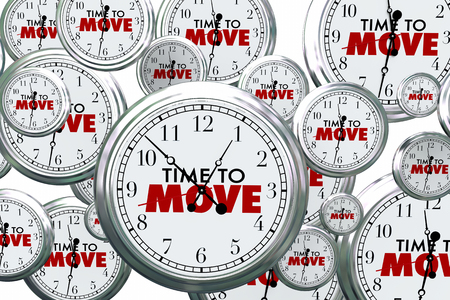 time fly: Time to Move Clocks Flying By Take Action Now 3d Illustration Stock Photo