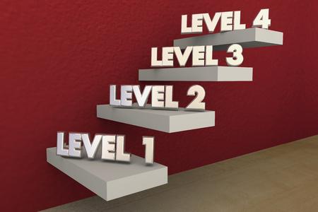 Escaleras niveles Pasos 1 a 4 Rising subiendo más Ilustración 3d Foto de archivo