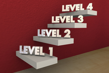 Levels Steps Stairs 1 to 4 Rising Climbing Higher 3d Illustration Stock Photo