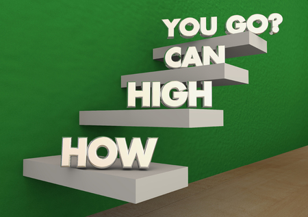 attainment: How High Can You Go Steps Stairs Achieve Success 3d Illustration