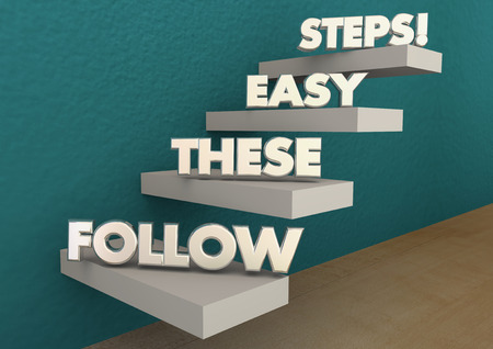 Follow These Easy Steps Directions Lesson Learning 3d Illustration