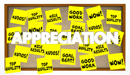 achiever: Appreciation Praise Thanks Recognition Notes 3d Illustration