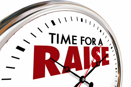 raise: Time for a Raise Higher Income Salary Clock 3d Illustration Stock Photo