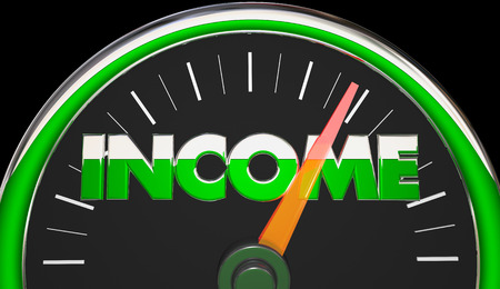 Income Earnings Salary Wages Raise Speedometer 3d Illustration