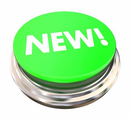gratification: New Green Button Light Press Modern Latest Update 3d Illustration Stock Photo