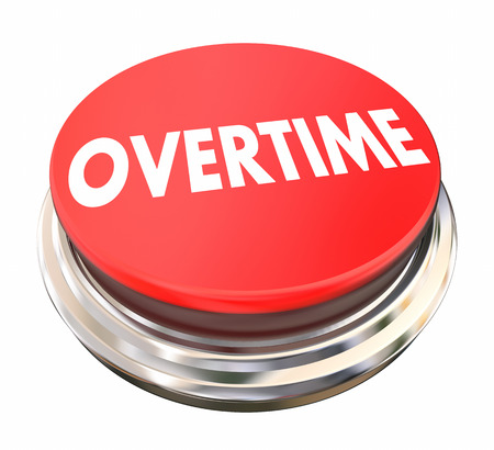 Overtime Extra Added Pay Red Button Light 3d Illustration