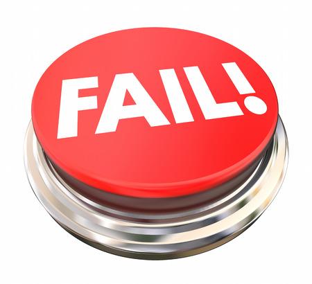 fail: Fail Red Button Press Light Rejection Failure 3d Illustration