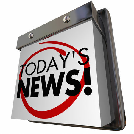 Todays News Item Announcement Update Calendar 3d Illustration Фото со стока