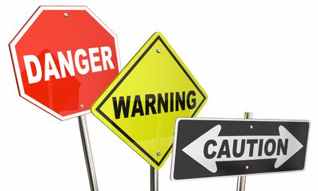 signos de precaucion: Peligro Advertencia Precaución parada de la calle camino de la producción signos 3d ilustración
