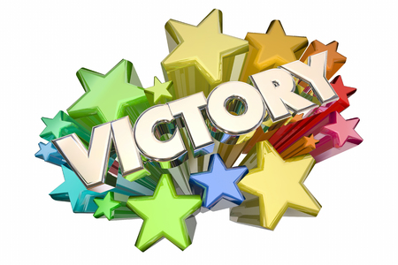 joyous: Victory Stars Winning Competition Winner Celebration 3d Illustration