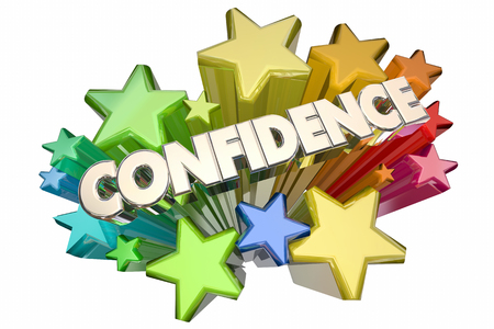 self assurance: Confidence Self Assured Certain Word Stars 3d Illustration