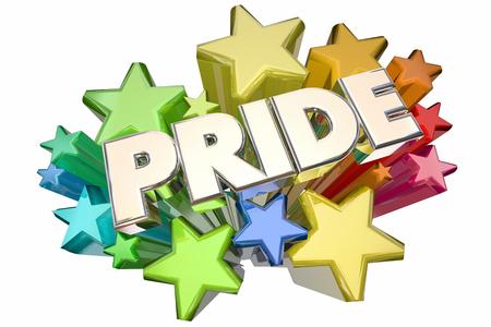 Pride Stars Showing Proud Feelings Emotion 3d Illustration Stock Photo