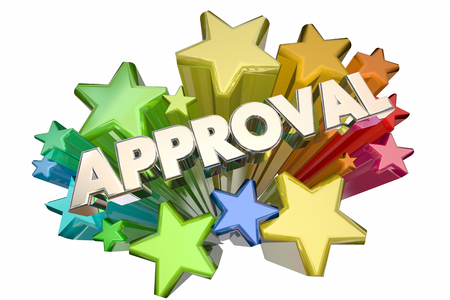 answered: Approval Good Answer Accepted Stars 3d Illustration Stock Photo