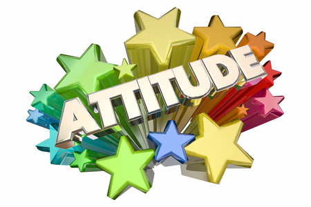 Attitude Positive Outlook Stars Word 3d Illustration Imagens