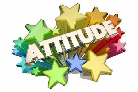 Positive Attitude Perspectives étoiles Parole 3d Illustration