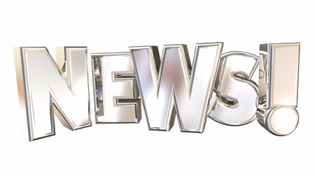 updating: News Letters Rising Update Announcement 3d Illustration Stock Photo