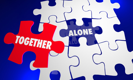 vs: Together Vs Alone Puzzle Piece Working With Each Other 3d Illustration